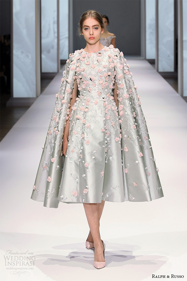 ralph and russo spring 2015 couture collection tea length shimmering silver dress with flora applique and cape