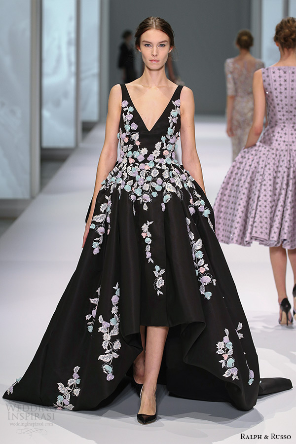 ralph and russo spring 2015 couture collection v plunging neckline sleeveless floral embroidery mullet black ball gown