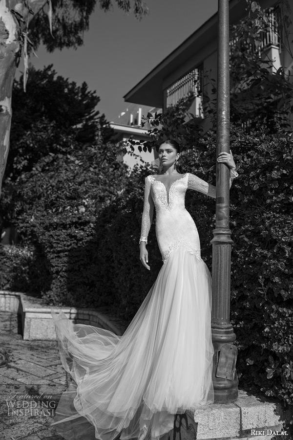 riki dalal wedding dress 2015 bridal long sleeves lace deep plunging neckline mermaid tulle gown
