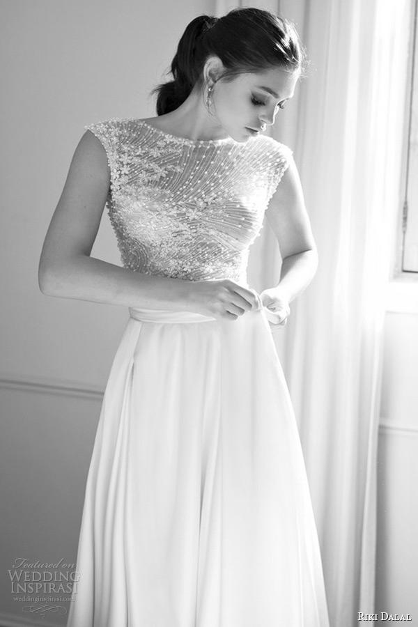 bce3a2cc72d riki dalal wedding dress 2015 bridal sleeveless bateau neckline sheer  embroidery top a line gown with