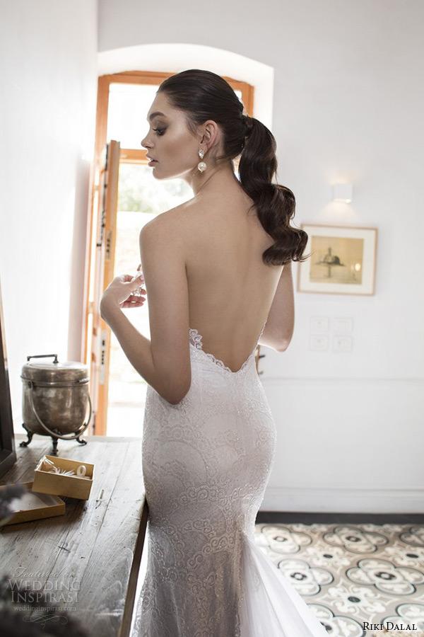 8de96c0cf00 riki dalal wedding dress 2015 bridal strapless sweetheart deep plunging  neckline low cut back sheath gown
