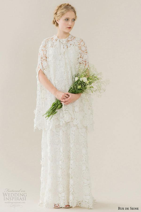 Rue De Seine Wedding Dress 2015 Bridal High Square Neckline Low Cut Back Guipure Lace A