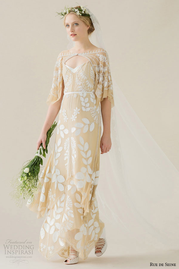 Rue De Seine Wedding Dress 2015 Bridal Off The Shoulder Draped Sleeve Beaded Nude Mesh Column