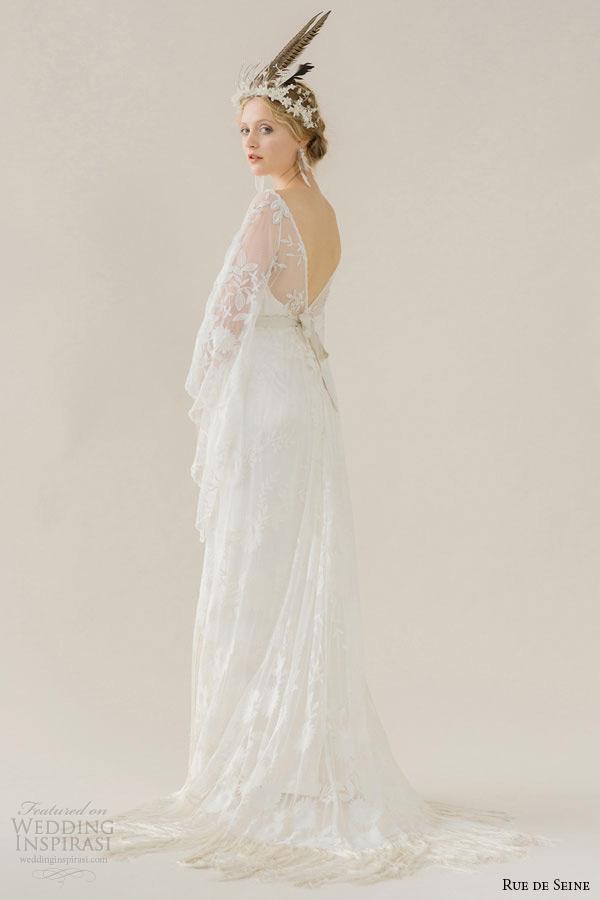 Rue De Seine Wedding Dress 2017 Bridal V Neckline Sheer Three 3 Quarter Loose Sleeves