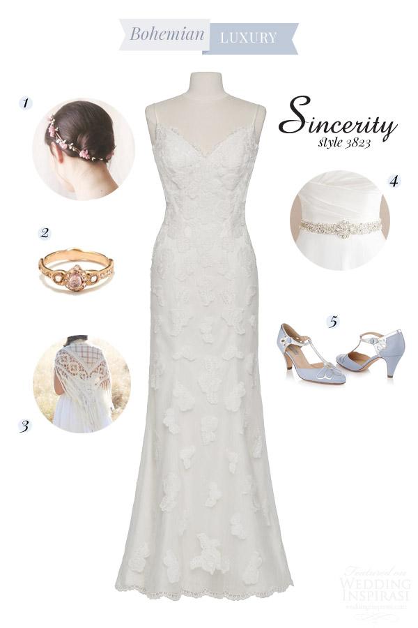 sincerity bridal 2015 style 3823 v neck tulle venise lace point desprit sheath wedding dress bridal style inspiration board bohemian luxury