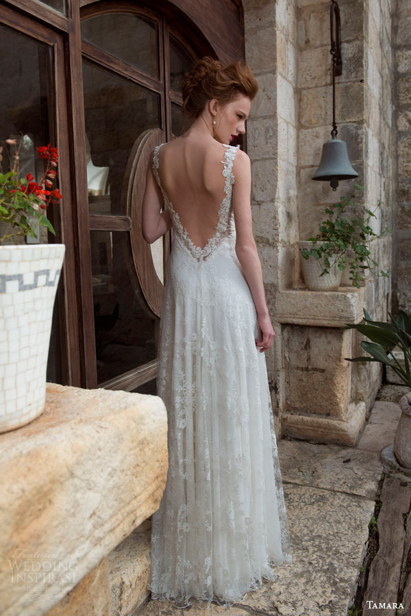 tamara 2013 2014 catherine sleeveless lace wedding dress back view