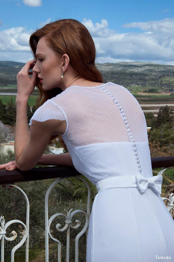 tamara 2013 2014 grace flutter cap sleeve wedding dress illusion neckline back view buttons