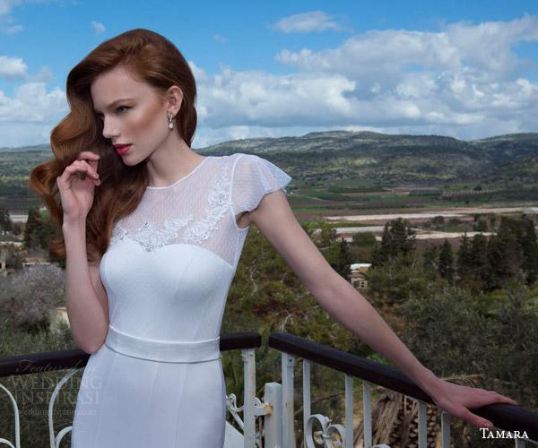 tamara 2013 2014 grace flutter cap sleeve wedding dress illusion neckline