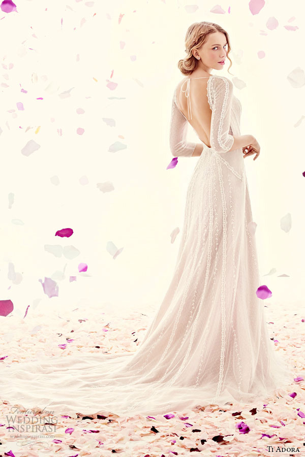 ti adora weding primavera vestido de noiva 2015 Inglês sheer vestido de mangas Bateau decote líquidas cinto cintura natural 7505 Daphne
