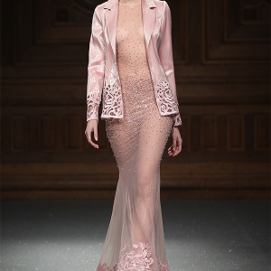 tony ward couture spring summer 2015 runway pink fit and flare sheer dress with jacket