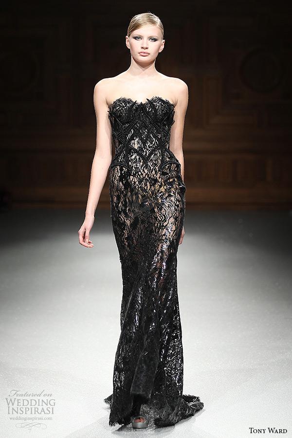 Summer 2015 runway strapless sweetheart neckline sheath black dress