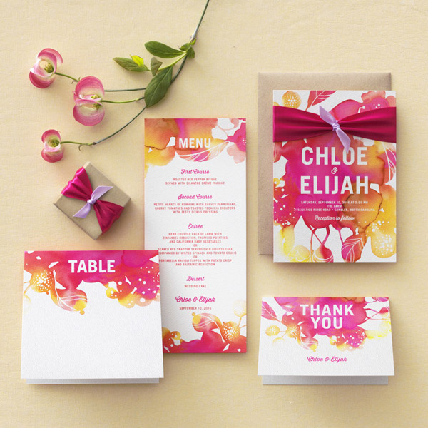 Wedding Paper Divas Blooming Together Invitation Suite Watercolor Theme Invites Purple Pink Fuchsia Yellow Orange