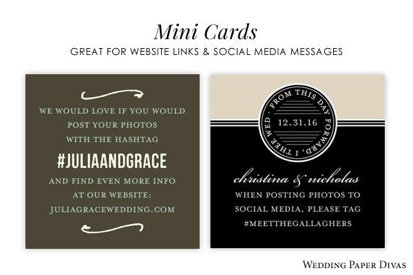wedding paper divas mini enclosure cards social media messages wedding hashtag website link