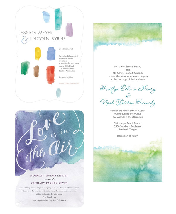 wedding paper divas wedding invitation watercolor style invites brushed devotion air of affection soft sea