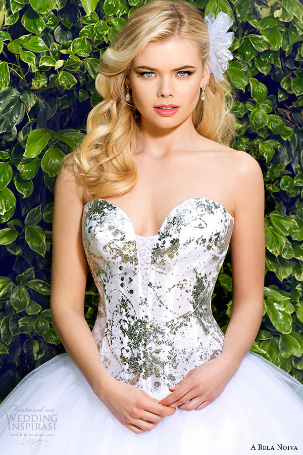 a bela novia 2015 wedding dress strapless sweetheart neckline corset bodice ball gown zoom