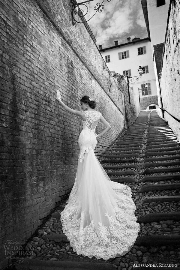 alessandra rinaudo 2015 shannon mermaid wedding dress illusion back lace train