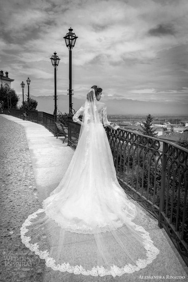 alessandra rinaudo bridal 2015 sahara ball gown wedding dress off shoulder three quarter sleeves lace bodice back view train