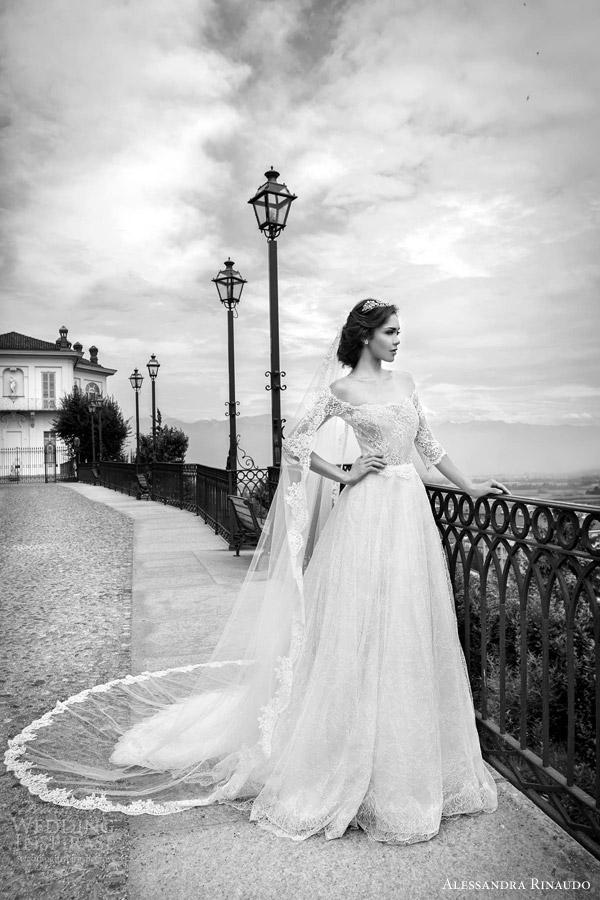 alessandra rinaudo bridal 2015 sahara ball gown wedding dress off shoulder three quarter sleeves lace bodice