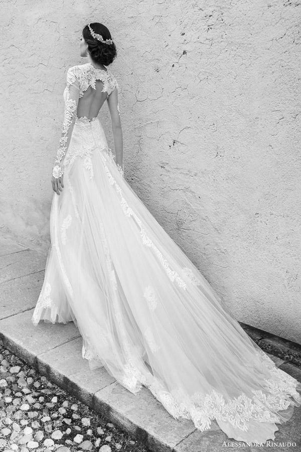 alessandra rinaudo bridal 2015 sarah wedding dress illusion long sleeves back view train close up