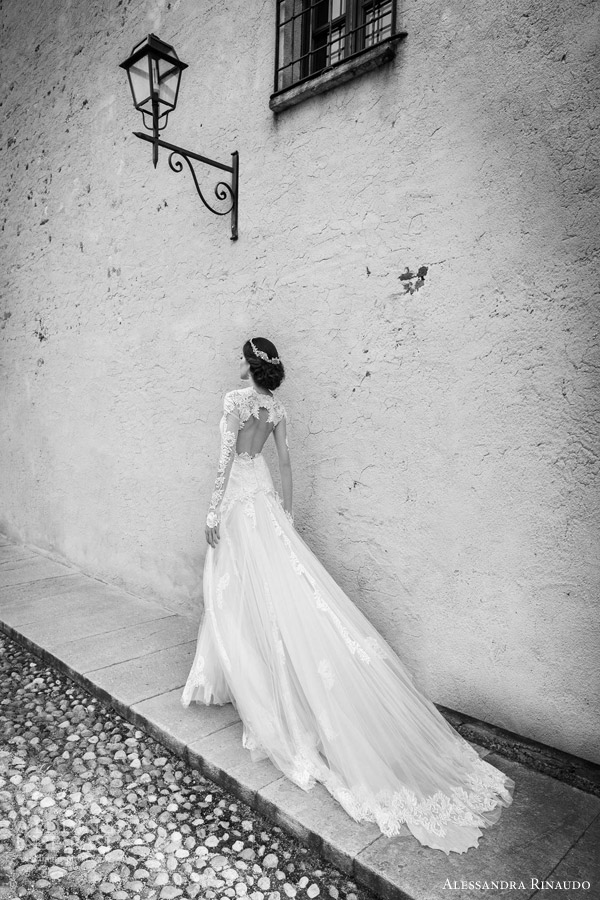 alessandra rinaudo bridal 2015 sarah wedding dress illusion long sleeves back view train