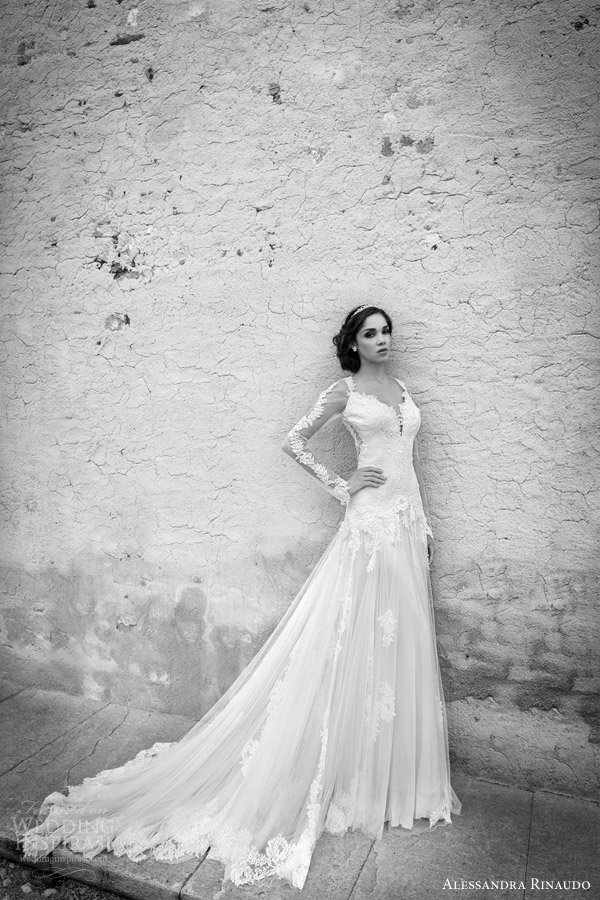 alessandra rinaudo bridal 2015 sarah wedding dress illusion long sleeves