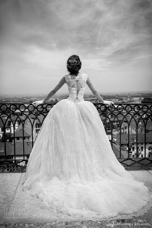 alessandra rinaudo bridal 2015 scarlet ball gown wedding dress cap sleeves illusion bodice keyhole corset lace up back view train