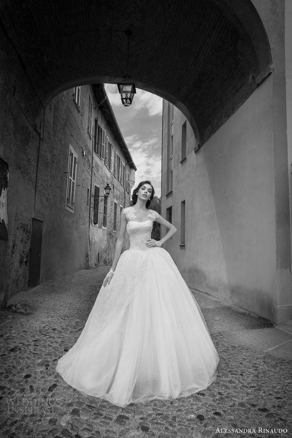 alessandra rinaudo bridal 2015 scarlet ball gown wedding dress cap sleeves illusion bodice