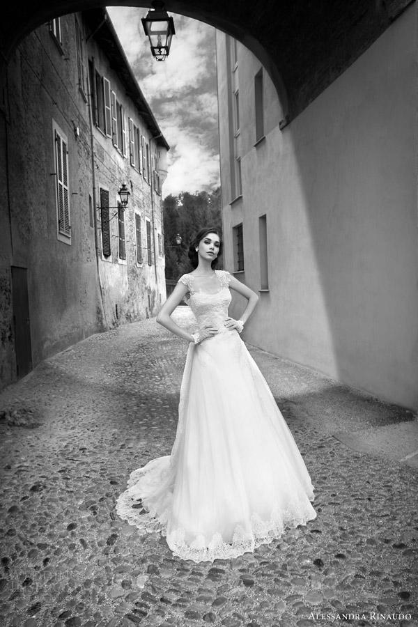 alessandra rinaudo bridal 2015 selena wedding dress cap sleeves full a line silhouette