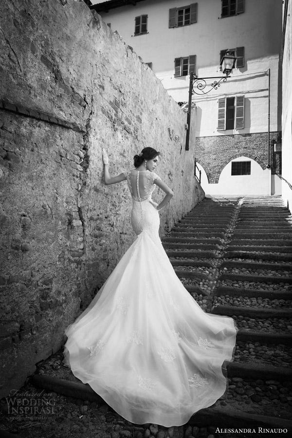 alessandra rinaudo bridal 2015 sharlene cap sleeve wedding dress mermaid fit flare illusion back