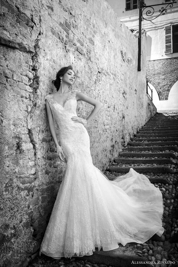 alessandra rinaudo bridal 2015 sharlene cap sleeve wedding dress mermaid fit flare illusion bodice
