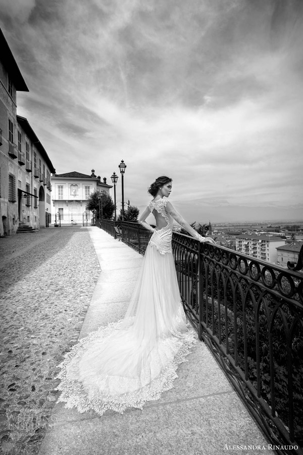 alessandra rinaudo bridal 2015 sidney illusion long sleeve wedding dress keyhole back view train
