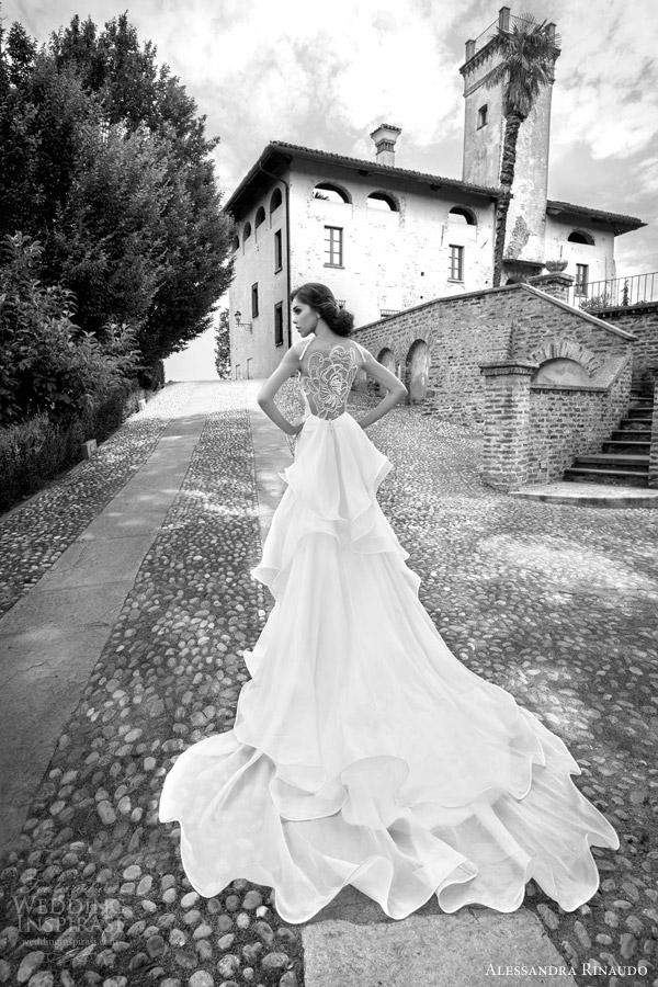 alessandra rinaudo bridal 2015 sophronia wedding dress statement illusion back layered train view