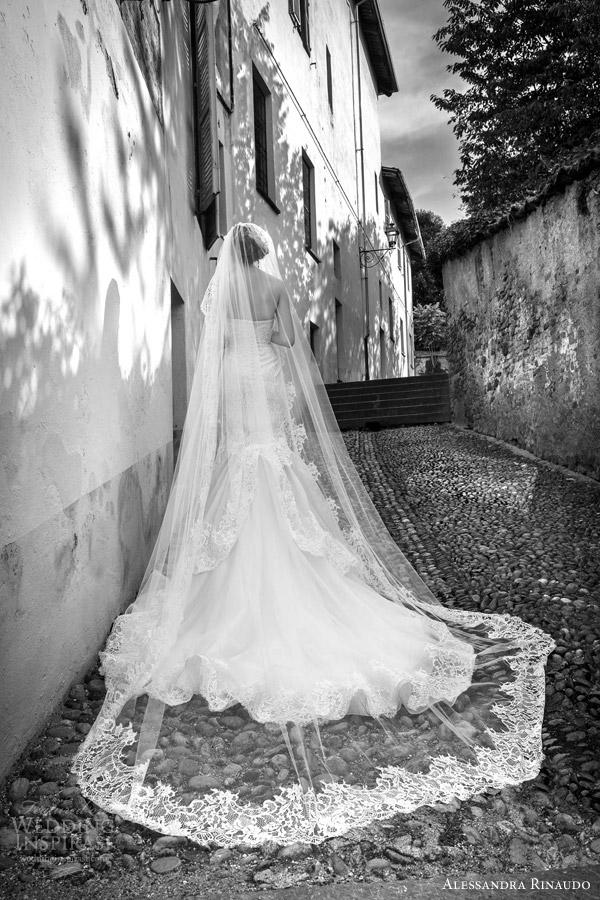 alessandra rinaudo bridal 2015 soraya strapless lace wedding dress fit flare silhouette back view mantilla veil