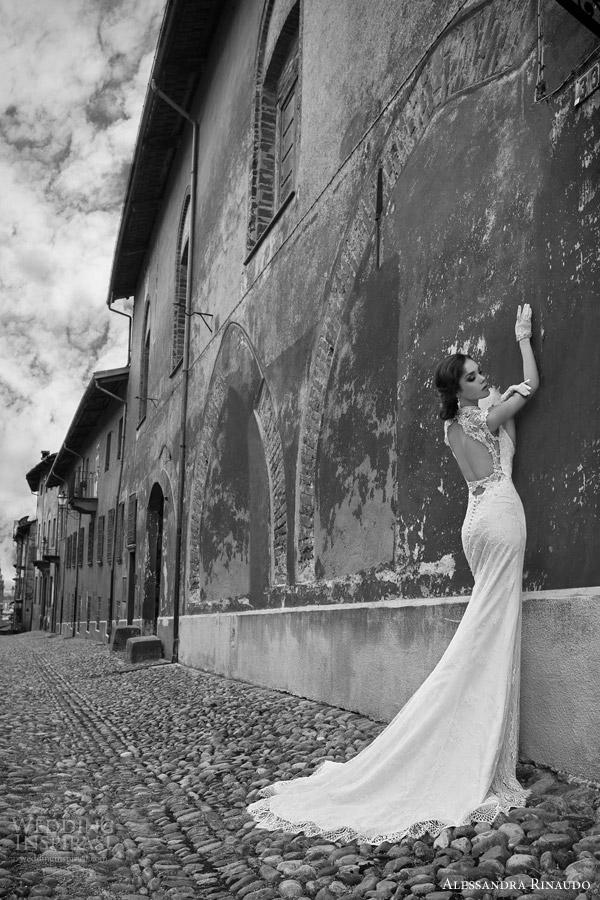 alessandra rinaudo bridal 2015 stacey cap sleeve sheath wedding dress lace illusion keyhole back view train