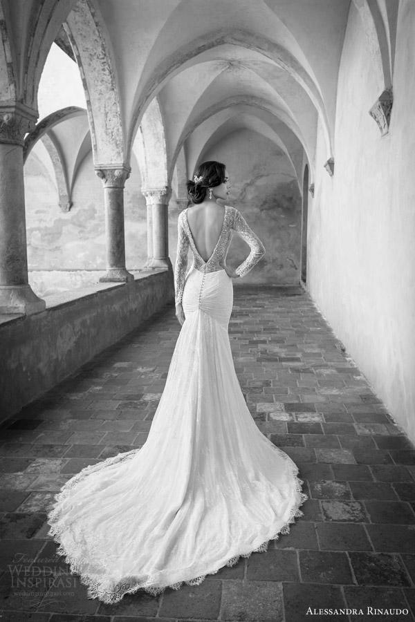 alessandra rinaudo bridal 2015 star wedding dress long sleeve fit flare mermaid deep v back view chapel train