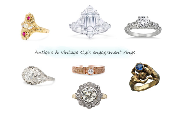 antique engagement rings vintage style ring fine jewelry diamond gold platinum art deco nouveau edwardian victorian
