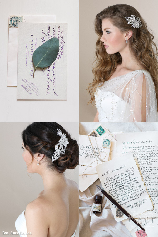 bel aire bridal 2015 wedding hair accessories rhinestone comb romantic story vintage handwritten note stamp love letters