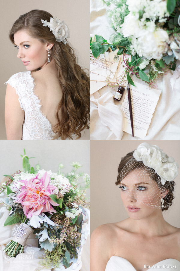bel aire bridal hair accessories 2015 flower clips comb floral birdcage veil bouquet flowers handwritten letter calligraphy vintage romantic story