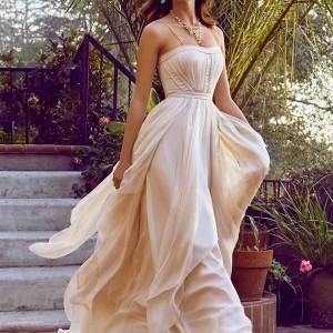 bhldn bridal spring 2015 wedding dresses spagetti strap semi sweetheart neckline blush a line bridal gown cascada villa sophia la california photo shoot