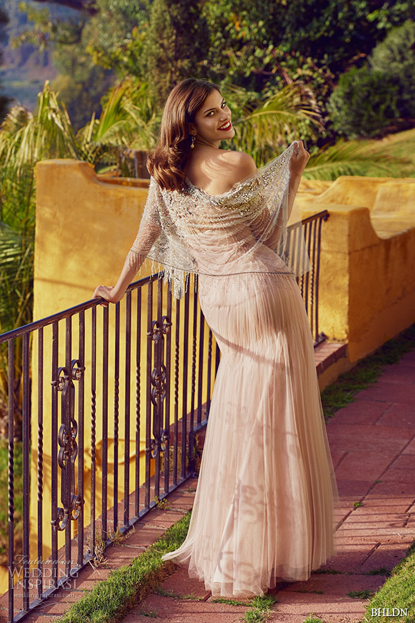 bhldn spring 2015 part 2 wedding dresses hollywood la california strapless sweetheart neckline rose gold modified a line carmen gown back
