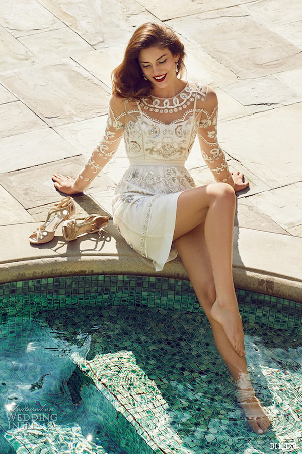 Bhldn Spring 2015 Wedding Dresses Long Sleeves Filigree Indian Inspired Jewel Neckline Ivory Mini Bridal Dress