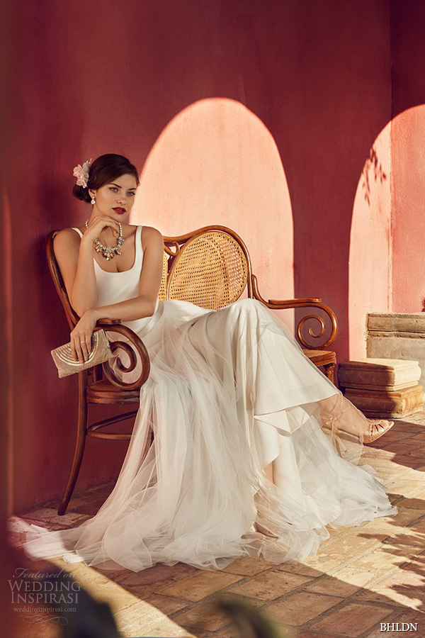 bhldn spring 2015 wedding dresses soft netting ivory tille satin slim gown ivory gracia skirt villa sophia california photo shoot signe vilstrup