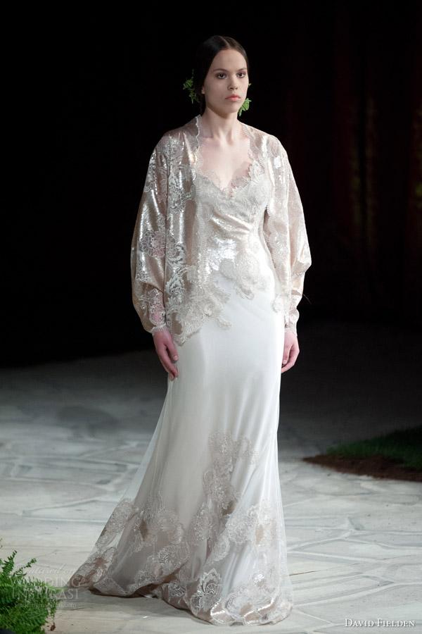 David Fielden 2017 Bridal 8320 Wedding Dress Metallic Lace Gold