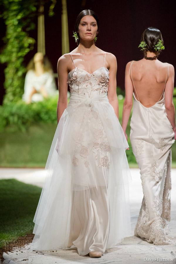 David Fielden 2017 Bridal 8371 Weddubg Dress Thin Straps 8372 Overskirt