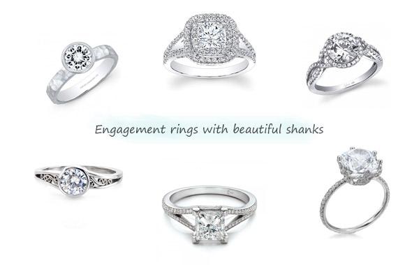 diamond engagement rings halo solitaire setting split shank twist shank delicate band filigree hammered ring white gold platinum