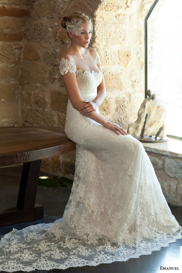 emanuel haute couture bridal 2015 lace sheath wedding dress off shoulder short sleeves