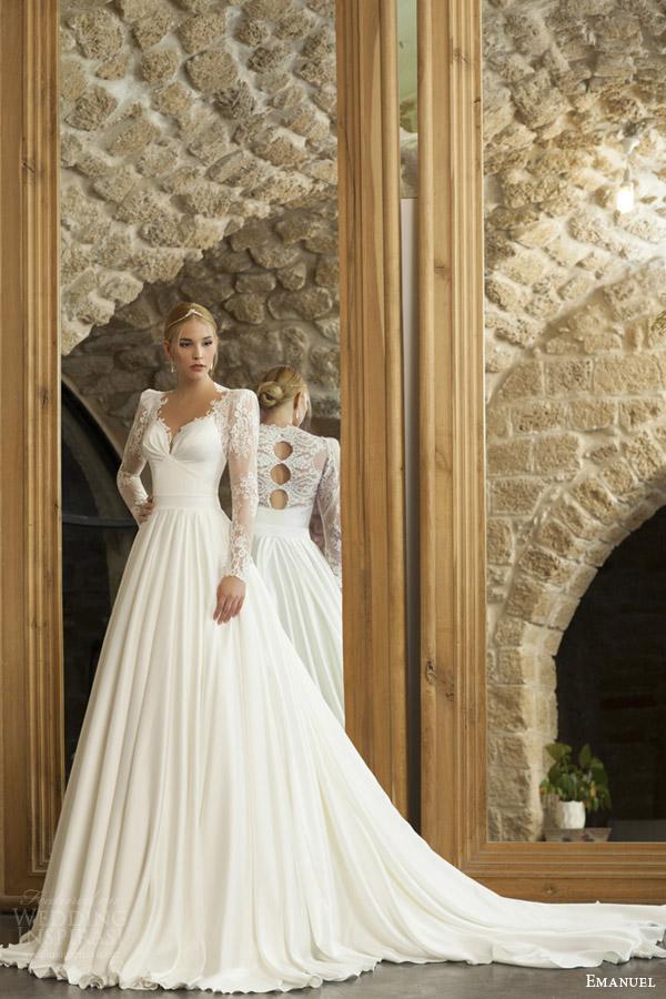 emanuel haute couture bridal 2015 long sleeve wedding dress structured shoulders back trio keyholes