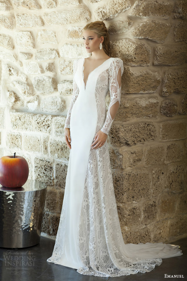 emanuel haute couture bridal 2015 sheath wedding dress deep v neckline long puff sleeves full view train