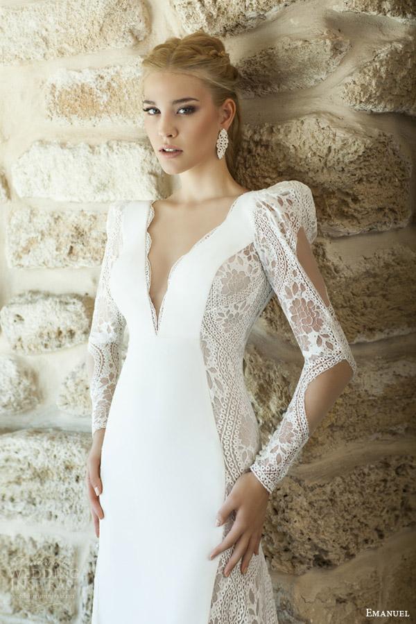 emanuel haute couture bridal 2015 sheath wedding dress deep v neckline long puff sleeves