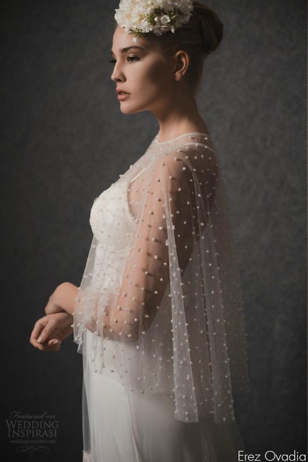 erez ovadia 2015 blossom bridal accessories pearl cape illusion topper